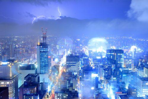 ゲリラ豪雨(札幌市中心部)の写真