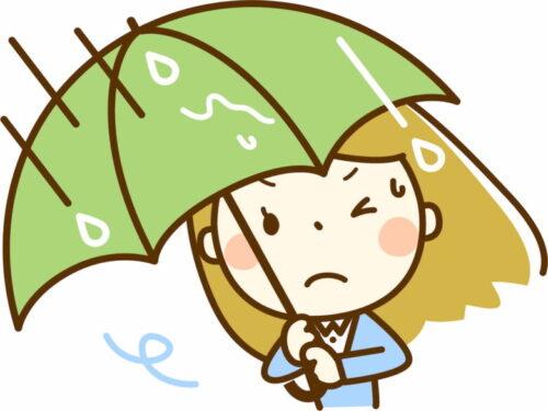風が強い中傘をさす女性