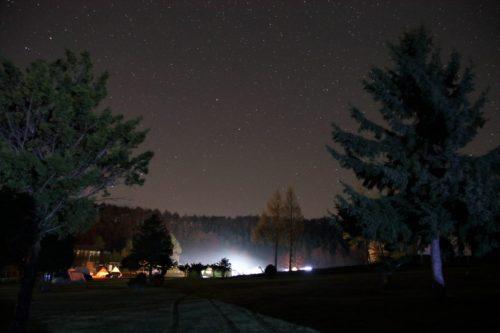 北海道、夜のキャンプ場