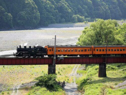 列車を引っ張る蒸気機関車1(静岡県・川根)