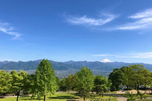 富士山と山々と甲府盆地