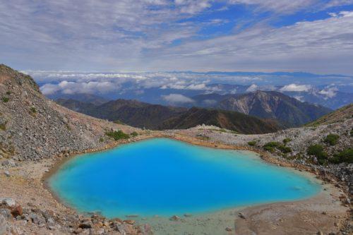 青い空と碧い池
