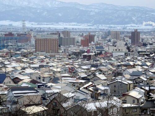 会津若松市中心部の街並み