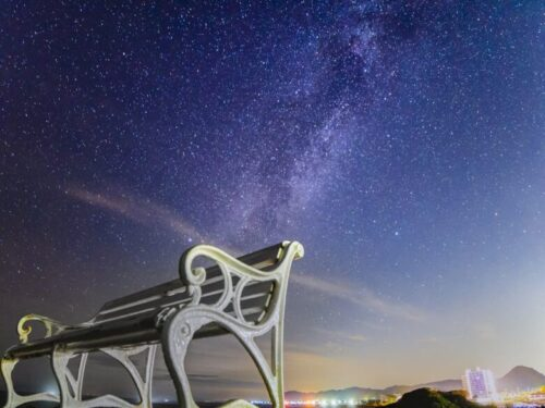 千葉野島崎灯台の星空と天の川