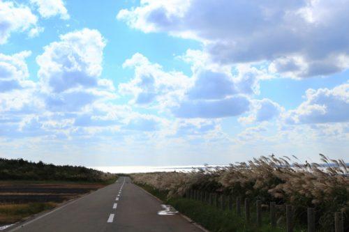 青い空と一本道