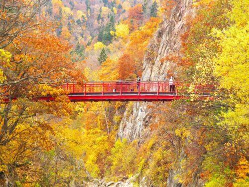 晩秋の定山渓温泉と二見吊橋