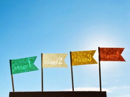 旗4枚_stage1234_青空と太陽光背景